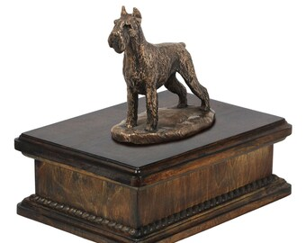 Exclusive Urn for dog's ashes with a Schnauzer cropped statue, ART-DOG. New model Cremation box, Custom urn.