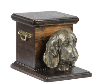 Urn for dog's ashes with a standing statue -Basset Hound, ART-DOG Cremation box, Custom urn.