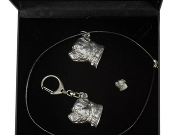 NEW, Staffordshire Bull Terrier, dog keyring, necklace and pin in casket, DELUXE set, limited edition, ArtDog . Dog keyring for dog lovers