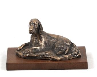 Setter (lying), dog wooden base statue, limited edition, ArtDog