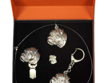 NEW, Bullmastiff, dog keyring, necklace, pin and clipring in casket, PRESTIGE set, limited edition, ArtDog . Dog keyring for dog lovers