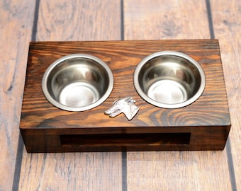 A dog's bowls with a relief from ARTDOG collection - Grey Hound