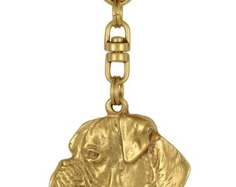 Boxer (uncropped cut), millesimal fineness 999, dog keyring, keychain, limited edition, ArtDog . Dog keyring for dog lovers