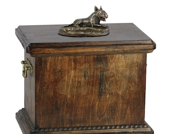 Urn for dog's ashes with a small Bull Terrier lying statue, ART-DOG Cremation box, Custom urn.