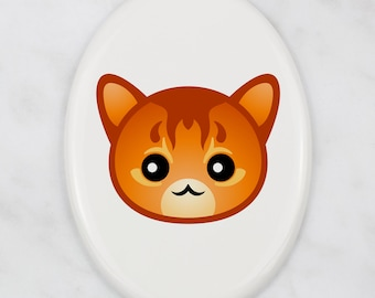 A ceramic tombstone plaque with a Somali cat. Art-Dog cute cat