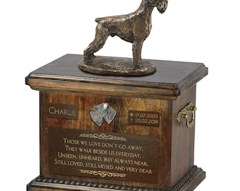 Schnauzer uncropped - Exclusive Urn for dog ashes with a statue, relief and inscription. ART-DOG. Cremation box, Custom urn.