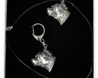 NEW, Staffordshire Bull Terrier, dog keyring and necklace in casket, ELEGANCE set, limited edition, ArtDog . Dog keyring for dog lovers