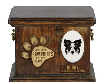 Urn for dog ashes with ceramic plate and sentence - Geometric Border Collie, ART-DOG. Cremation box, Custom urn.