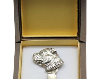 NEW, Staffordshire Bull Terrier, dog clipring, in casket, dog show ring clip/number holder, limited edition, ArtDog