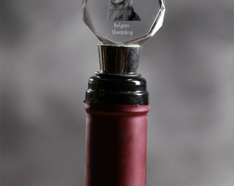 Belgian Shepherd, Malinois, Crystal Wine Stopper with Dog, Wine and Dog Lovers, High Quality, Exceptional Gift