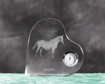 Lipizzan- crystal clock in the shape of a heart with the image of a pure-bred horse.