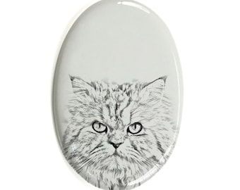 Persian cat - Gravestone oval ceramic tile with an image of a cat.