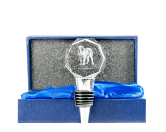 St. Bernard, Crystal Wine Stopper with Dog, Wine and Dog Lovers, High Quality, Exceptional Gift