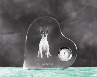 Toy Fox Terrier- crystal clock in the shape of a heart with the image of a pure-bred dog.