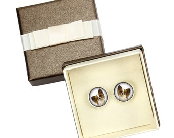 Papillon. Cufflinks with box for dog lovers. Photo jewellery. Men's jewellery. Handmade