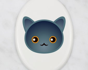 A ceramic tombstone plaque with a Chartreux cat. Art-Dog cute cat