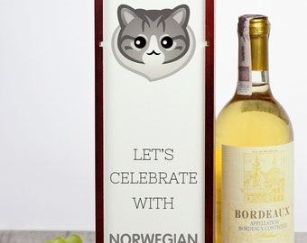 Let's celebrate with Norwegian Forest cat. A wine box with the cute Art-Dog cat