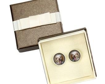 Clumber Spaniel. Cufflinks with box for dog lovers. Photo jewellery. Men's jewellery. Handmade