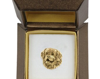 NEW, St. Bernard, dog pin, in casket, gold plated, limited edition, ArtDog