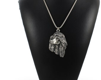 NEW, Afghan Hound, Ogar Afgan, Tazhi Spay, dog necklace, silver cord 925, limited edition, ArtDog