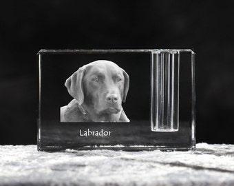 Labrador Retriever, crystal pen holder with dog, souvenir, decoration, limited edition, Collection