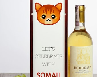 Let's celebrate with Somali cat. A wine box with the cute Art-Dog cat