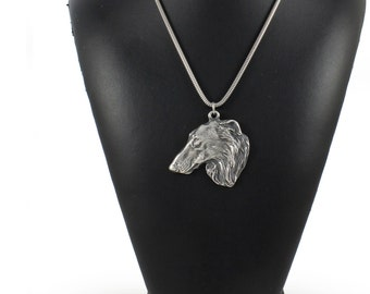NEW, Borzoi, Russian Wolfhound, dog necklace, silver cord 925, limited edition, ArtDog