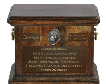 Urn for dog's ashes with relief and sentence with your dog name and date - Tibetan Mastiff, ART-DOG. Cremation box, Custom urn.