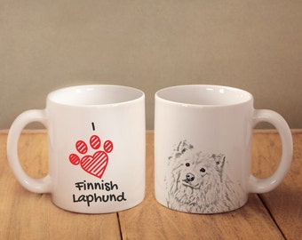 "Finnish Lapphund- mug with a dog and description:""I love ..."" High quality ceramic mug. Dog Lover Gift, Christmas Gift"