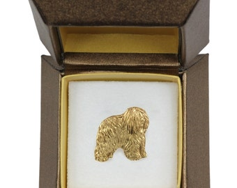 NEW, Polish Lowland Sheepdog, dog pin, in casket, gold plated, limited edition, ArtDog