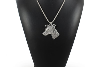 NEW, Whippet, dog necklace, silver cord 925, limited edition, ArtDog