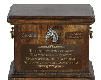 Urn for horse ashes with relief and sentence with your horse's name and dates - Arabian Horse, ART-DOG.. Cremation box, Custom urn.