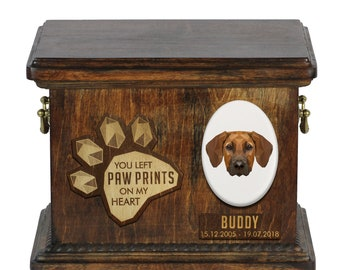 Urn for dog ashes with ceramic plate and sentence - Geometric Rhodesian Ridgeback, ART-DOG. Cremation box, Custom urn.