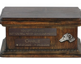 Urn for dog's ashes with relief and sentence with your dog name and date - Azawakh, ART-DOG. Low model. Cremation box, Custom urn.