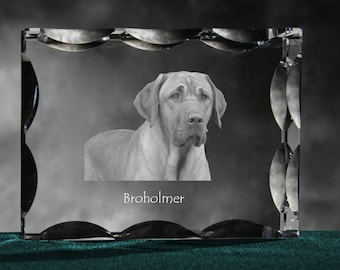 Broholmer, Cubic crystal with dog, souvenir, decoration, limited edition, Collection