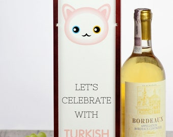 Let's celebrate with Turkish Angora cat. A wine box with the cute Art-Dog cat