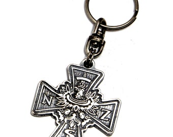 NSZ cross - silver plated, patina coated keyring coming in an elegant box.