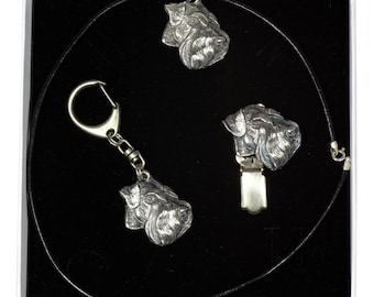 NEW, Schnauzer, dog keyring, necklace and clipring in casket, ELEGANCE set, limited edition, ArtDog . Dog keyring for dog lovers
