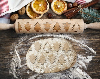 CHRISTMAS TREES. Engraved rolling pin for Cookies, Embossing Rollingpin, Laser Engraved Rolling-pin. Decorating Roller