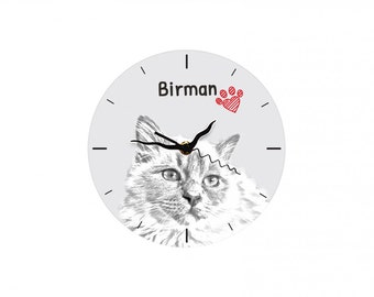 Birman, Free standing MDF floor clock with an image of a cat.