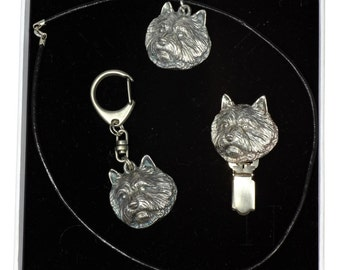 NEW, Norwich Terrier, dog keyring, necklace and clipring in casket, ELEGANCE set, limited edition, ArtDog . Dog keyring for dog lovers