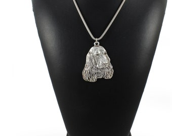 NEW, English Cocker Spaniel, dog necklace, silver cord 925, limited edition, ArtDog