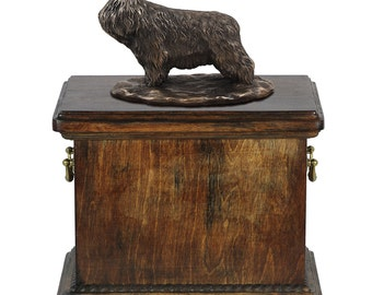 Urn for dog's ashes with a Polish Lowland Sheepdog statue, ART-DOG Cremation box, Custom urn.
