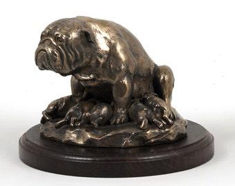 Bulldog (mama), dog wooden base statue, limited edition, ArtDog