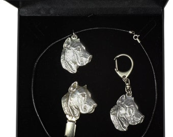 NEW, Presa de Canario, dog keyring, necklace and clipring in casket, DELUXE set, limited edition, ArtDog . Dog keyring for dog lovers