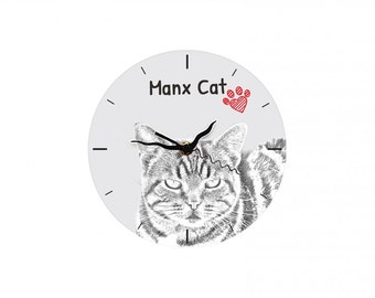 Manx cat, Free standing MDF floor clock with an image of a cat.