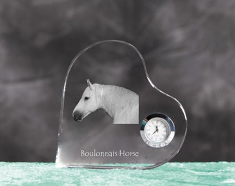 Boulonnais- crystal clock in the shape of a heart with the image of a pure-bred horse.