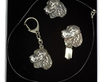 NEW, Springer Spaniel, dog keyring, necklace and clipring in casket, ELEGANCE set, limited edition, ArtDog . Dog keyring for dog lovers