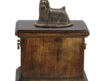 Urn for dog's ashes with a Yorkshire Terrier statue, ART-DOG Cremation box, Custom urn.