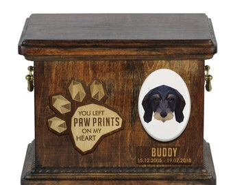 Urn for dog ashes with ceramic plate and sentence - Geometric Dachshund wirehiared, ART-DOG. Cremation box, Custom urn.